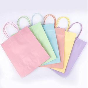 كيس ورق الكرافت المحمولة لون الحلوى حقيبة هدية حقيبة مع مقابض تخزين تغليف حقيبة التسوق أكياس هدية التفاف DDC4819