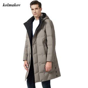KOLMAKOV New Arrival Winter Style Men Boutique Down Coat High Quality Solid Zipper Detachable hat Down Coat Plus Size M-7XL