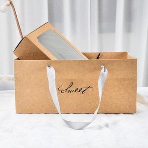 LBSISI Life 10PCS Sweet Kraft Paper Box с Wibdow День рождения Свадьба Подарочная упаковка Ударные коробки и Упаковка Выпечки Печенье Подвижная Jllenn