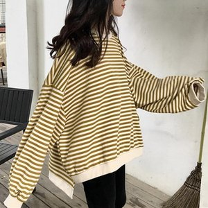 New Women Stripe Sweater Autumn Winter Loose Long Sleeve Pullover Tops Korean Ladies Patchwork Korean Sweaters