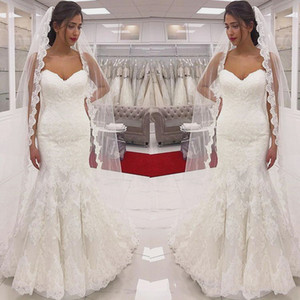 Simple Design 2021 Lace Wedding Dress Mermaid Sweetheart Neckline Floral Pattern Appliques Bridal Gowns Customize Plus Size