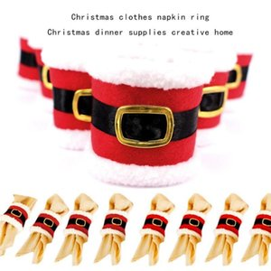 6pcs lot Santa Claus Towel Napkin Rings Cover Curtain Buckle Holders Christmas Home Party Tableware Decoration Ornaments