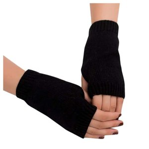 Winter Warm Women Girl Solid Knitted Arm Fingerless Gloves Outdoor Soft Warm Mitten Clothing Accessories Gifts
