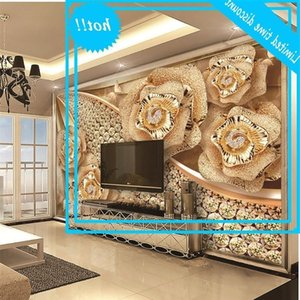 Custom Retail 3D wallpaper Home Dcor Best Diamond Flower Jewelry TV Interior Wall Decoration large Mural