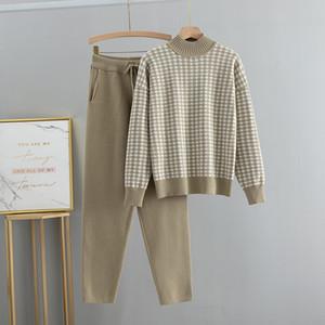 Bygouby Kaz Ayak Nakış Balıkçı Yaka Kazak + Pantolon Kadın Kazakları Suit Bayanlar Kış Giyim Seti LJ201119
