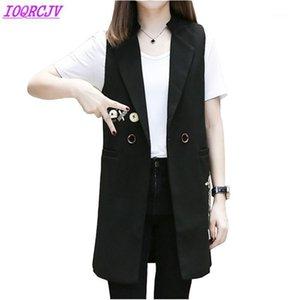 Coletes para mulheres Primavera Sem Mangas Blazer Longo Outerwear Plus Size Waistcoat Imprimir Cardigan Slim Tops Feminino Ioqrcjv H3361