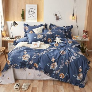 New 100% cotton Bedding set blue flowers Duvet cover Bed Sheet Linen Pillowcases 4pcs for adults bed set
