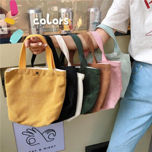 Portable Corduroy Meal Bento Tote Lunch Bag Thermal Insulated Lunch Box Tote Cooler Handbag Picnic Camping Pouch Lady Handbag