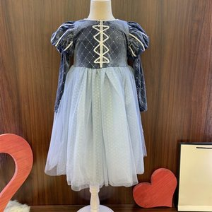 2020 new hot sale luxury fashion díor design girls dress velvet bronzing Aisha dress fluffy sleeves kids free shipping