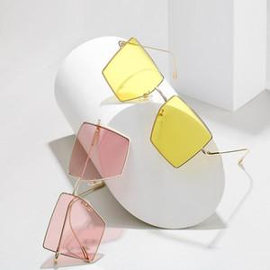 Sunglasses 2021 Fashion Square Oversized Women Vintage Designer Sexy Thin Frame Sun Glasses For Female UV400
