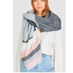 Venta caliente del otoño otoño invierno femenino acrílico bufanda mujeres bufandas a rayas ancho largo mantón envolver manta cálida tippet n336 201119