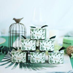 Kreative grüne Monstera Blätter Candy Box Hochzeit Favoriten Candy Boxes Giveaways Schokoladenbox Party Supplies Danke Geschenkbox Y1202