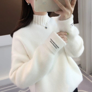 Winter White Sweater Women Casual Loose Thick Sweaters Lady Turtleneck Solid Color Simple Knit Pullover Top T200817