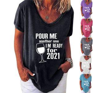 Plus Size Women Women Designer T-shirt Cup de Vinho do Verão Casual Camiseta Cerve-me Outro Eu estou pronto para 2021 carta Tshirt Blusa Tee Tops G10501