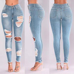 Fashion Donne Jeans Denim Hole Femminile Vita alta Stretch Slim Sexy Pantaloni a matita Pantaloni da donna Skinny Skinny Jeans Vestido de Mujer