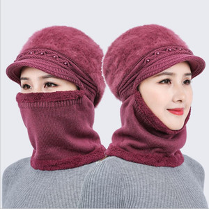 new one-piece hat female knitted ear protection wool hat cycling outdoor warm zipper Hat Winter Warm thickened #002