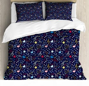 Music Duvet Cover Set Hearts Notes Stars Melodic Inspiration Musical Lifestyle Rhythm in My Heart Design Bedding Set Multicolor