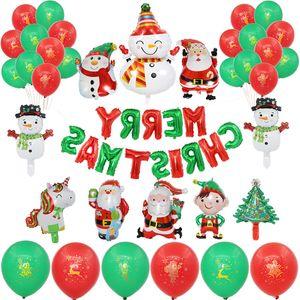 Merry Christmas Balloons Santa Claus Christmas Tree Banner Garland Decorations For Home Xmas Party Decoration Kerst Balloon Set Decorations