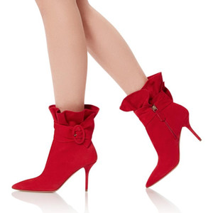 Women Ankle Boots Red Ruffle Zip High Heel Shoes Ladies Pointed Toe Buckle Dress Shoes Wedding Heels