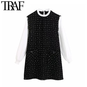 TRAF Women Vintage Sweet Patchwork Frayed Trim Tweed Mini Fashion O Neck Long Sleeve Female Dresses Chic Vestidos Mujer A1112