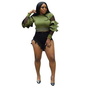 Mujeres Tshirts Casual Mesh Paneled Fashion Ladies Top Tray Crew Cuello Slim Womens Ropa Sexy Ruffle Designer