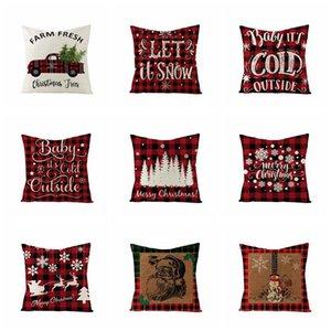 18 Inch Christmas Pillowcase Plaid Printed Linen Decor Throw Cushion Cover Home Sofa Decorative Pillow Case OWF3448