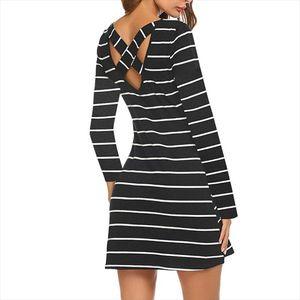 2019 Summer Autumn Mini Dress Hot Women s Slim Dress Horizontal Stripes Print Chic Party Dresses Casual