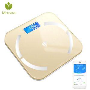 Bluetooth-scales 바닥 체지방 스케일 스마트 전자 백라이트 디스플레이 LED 디지털 체중 무게 비늘 욕실 밸런스 BMI T200522