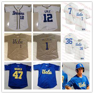 Özel UCLA Bruins Beyzbol Forması Chase Utley Brandon Crawford Gerrit Cole Trevor Bauer Zack Weiss Jackie Robinson UCLA Bruins Jersey