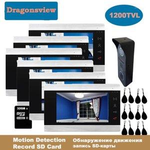 DragonsView 7 pouces RFID Vidéo Interphone Système de porte vidéo Téléphone de porte Vidéo Caméras 3/4/5/6 Moniteurs d'intérieur Déverrouillage transfert d'appel1