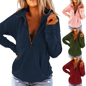 Solid Color Long Sleeve Zipper Casual Loose Top Women's Sweater