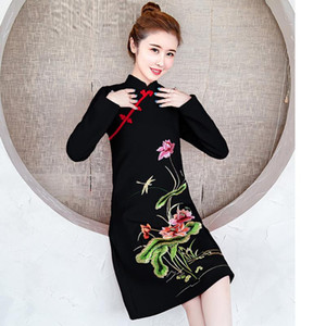 2020 long sleeve autumn winter Cheongsams Chinese style dress Elegant Slim Plus Size Qipao