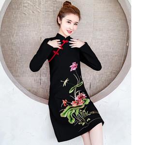 2020 Uzun Kollu Sonbahar Kış Cheongsams Çin Tarzı Elbise Zarif Ince Artı Boyutu Qipao