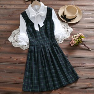 Mori girl cute kawaii plaid dress 2019 spring new arrival preppy style bow long sleeve sweet college pleated dress