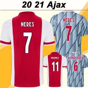 NCAA 20 21 Ajax Ziyech Tadic Mens Soccer Jerseys Neres de Ligt Dolberg Red Away Home Football Chemises Nouveau Huntelaar de Jong Uniformes courts