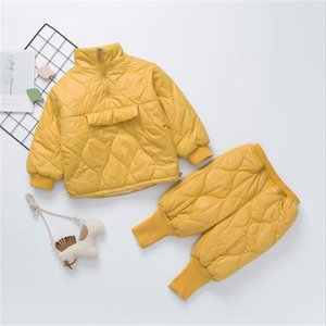 Fashion Baby Kids Warm Down-Cotton Clothes Set Turtleneck Children Coat Tops+Pant Outfits Suit for Girls Boys Winter Clothing Y1113