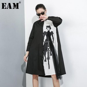[EAM] Women Pattern Printed Mesh Big Size Shirt Dress New Lapel Long Sleeve Loose Fit Fashion Tide Spring Summer 2020 1X950