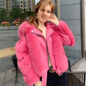 Maylofuer Real Fox Fur Coat with Genuine Sheepskin Leather Jacket Long Sleeves 100% Natural Fox Fur Coats for Women Hot Sale 201221