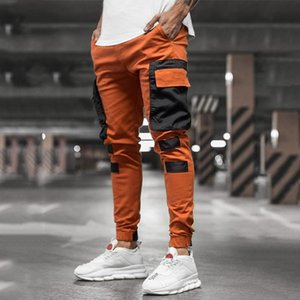 CHRLEISURE Men's Cargo Pants Casual Patchwork Joggers Trousers For Men Korean Fashion Hip Hop Punk Loose Pants Streetwear Y1114