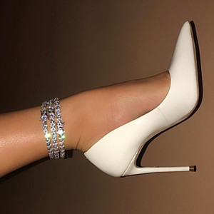 2020 new summer jewelry iced out bling clear cz tennis chain anklet for women LJ201007