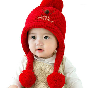 C- Hat Beanies Baby Hat Pompon Winter Children Knitted Cute Cap For Girls Boys Warm Casual Solid Color1