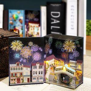 Cutebee Dollhouse Wooden Book Nook Inserts Art Bookends DIY Bibliothèque Miniature Doll Maison Diy Dollhouse Casa Toys pour enfants LJ201126