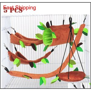 Seis 5Pcs Hamster Hanging Cage Accessories Set Leaf Wood Design Small Animal Hammock Channel Ropeway Swing Guinea Pig Rat Birds Sqwwu