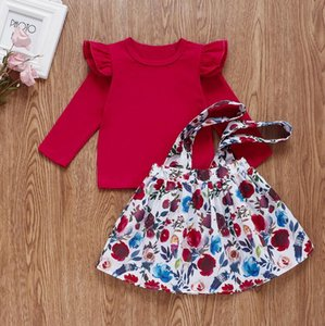 New stock autumn Kids Clothing baby girl long-sleeved T-shirt + floral suspender skirt kids 2 piece suit