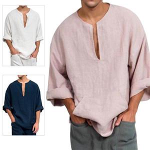 Китайский стиль мужчины рубашка повседневная пляж сплошной цвет v шеи flare flare рукав хлопок топ рубашка блузка мужская одежда 2021 новый