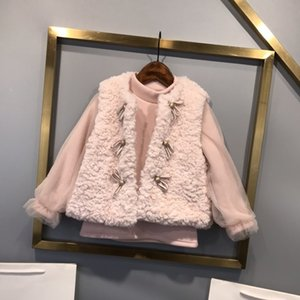 2020 new design high-end children's clothing velvet pink girls jacket two-piece thick warm and windproof free shipping