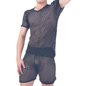 Pajamas pijama hombre sexy sleepwear men underwear honeycomb mesh set breathable pyjama homme home costumes bielizna nocna Q1202