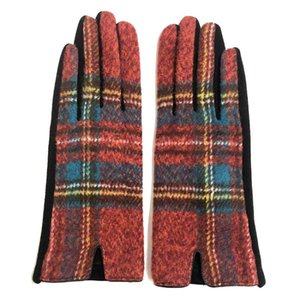 Women Plaid Warm Gloves Fashion Cycling Winter Mittens Outdoor Wool Check Warmer Drive Mittens Grid Gloves Party Favor Supplies DHA2790