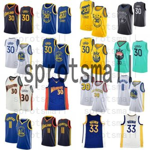 Stephen 30 Curry New City Basketball Jersey Mens 33 James Wiseman Klay 11 Thompson Chemise de basket-ball blanche bleu sans manches