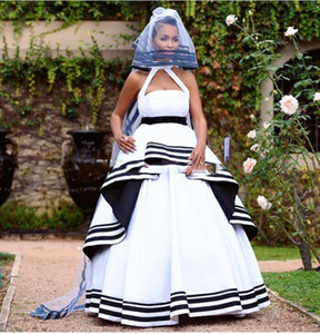Vintage African Nigeria Black And White Wedding Dresses For Pregnant Woman Gothic Empire Waist Maternity Bridal Gowns Custom Made Plus Size